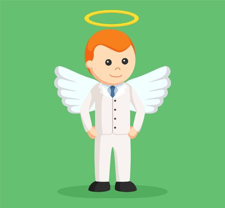 angel businessman standing pose Illustration