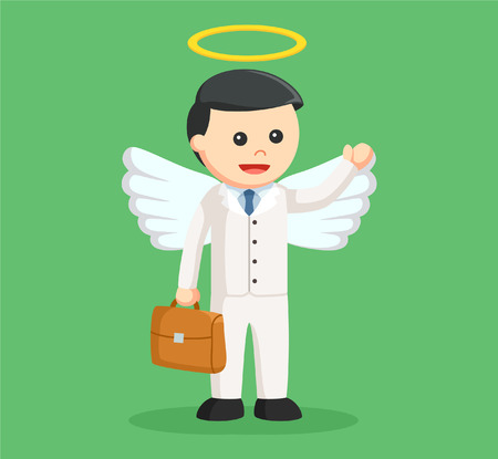 angel businessman with briefcase Illustration