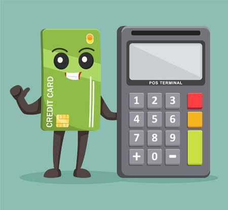 pos: credit card character with pos terminal Illustration