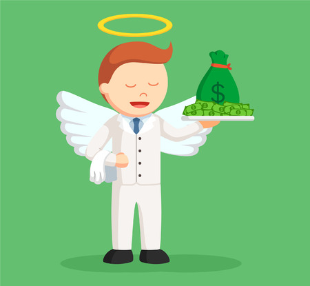 angel businessman with money Illustration