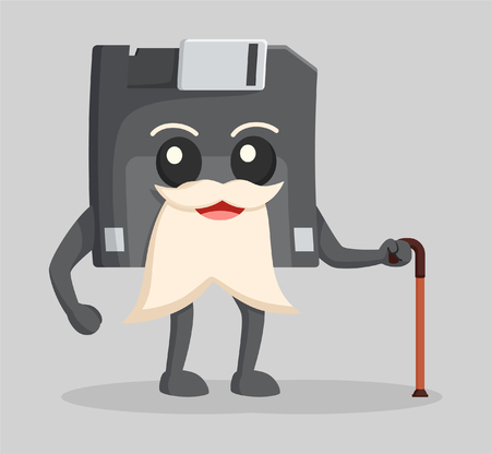 hard drive: diskette character illustration design