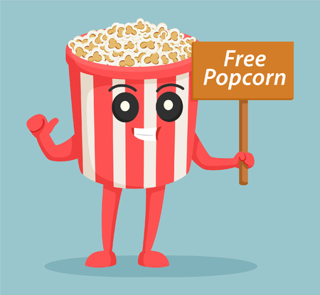 popcorn character with free popcorn sign