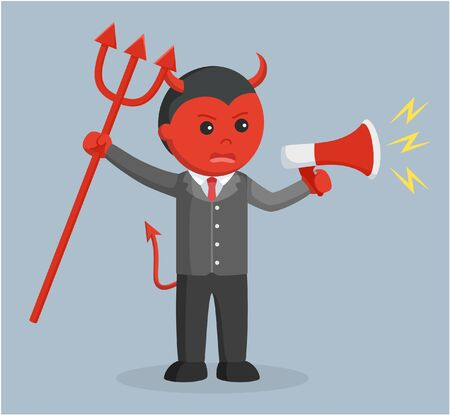 lier: evil business man angry holding megaphone