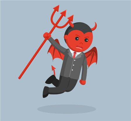 pointed arm: evil business man flying angry holding trident Illustration