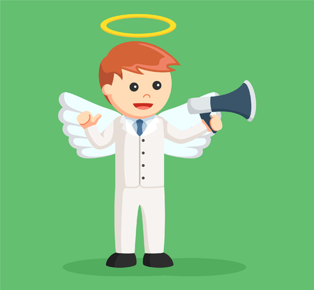 angel businessman with megaphone