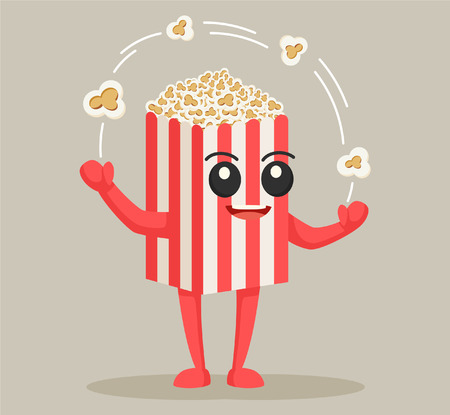 popcorn caractère jonglerie flocons