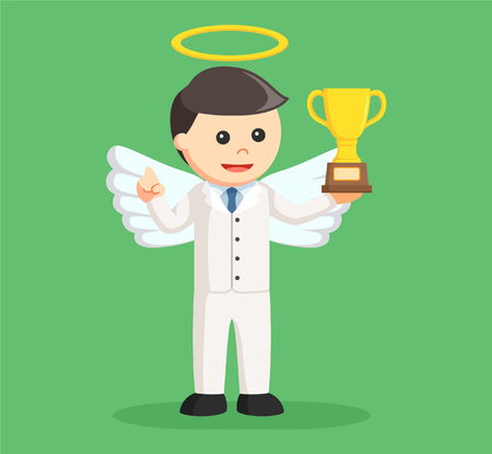 angel businessman with trophy Illustration