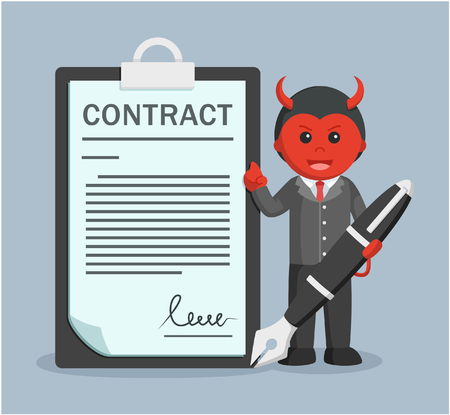 business contract: evil business man holding giant pen offering contract