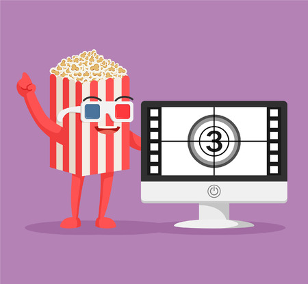 entertainment: popcorn character with pc movie