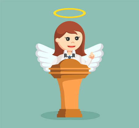 angel businesswoman giving speech