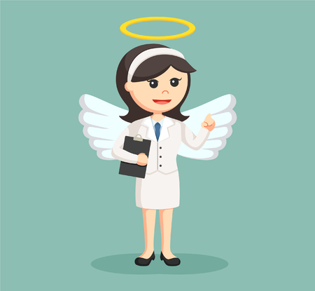 the righteous: angel businesswoman with clipboard