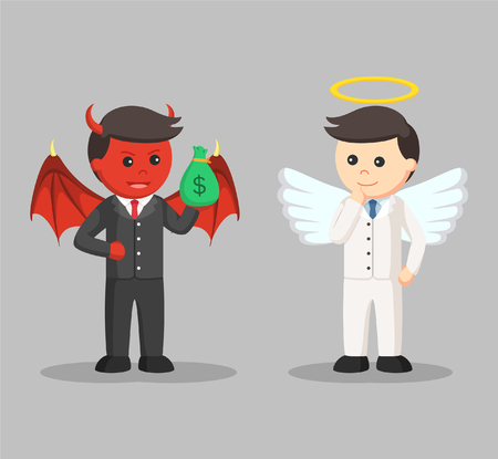 the righteous: devil trying to bribe angel businessman