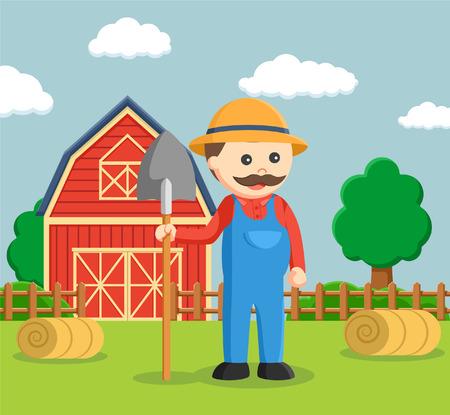 fat farmer holding shovel Illustration