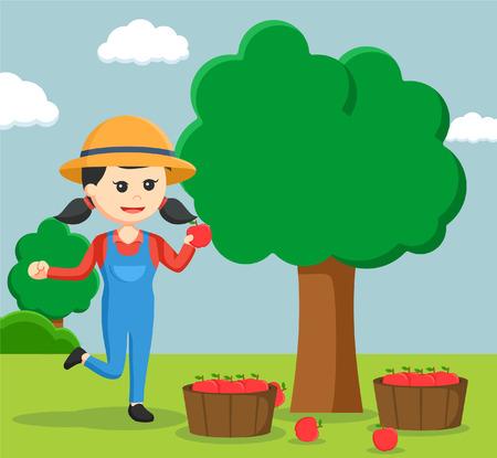 farmer woman harvesting apple tree Illustration