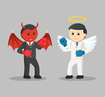 devil and angel businessman boxing
