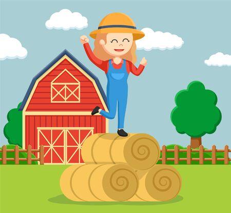 farmer woman happy on straw roll