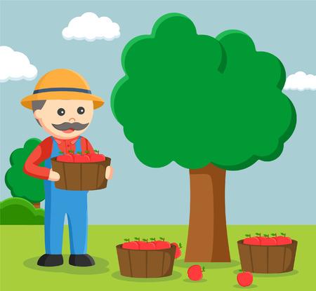 fat farmer harvesting apple tree
