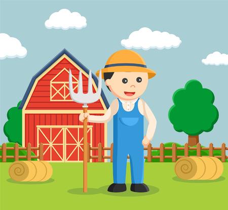 farmer holding pitchfork color Illustration