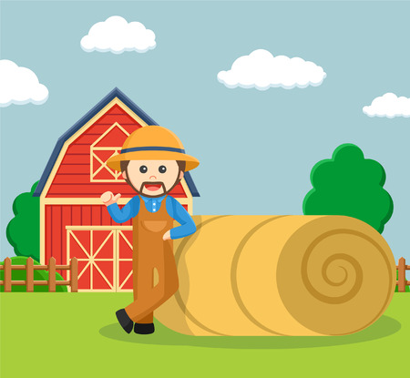 agronomist: farmer leaning on straw roll