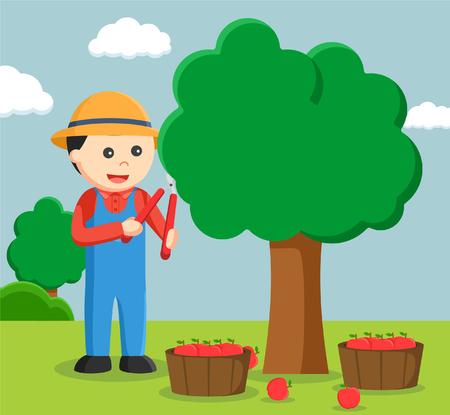farmer pruning apple tree Illustration