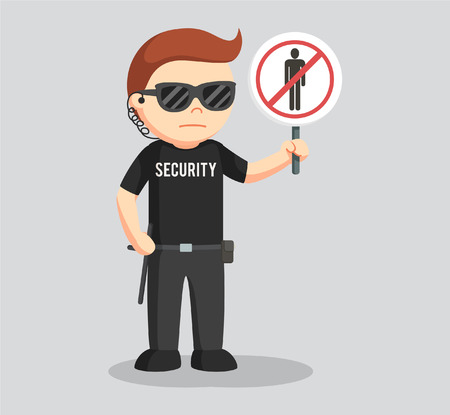 forbidden to pass: security guard with forbidden pass sign Illustration