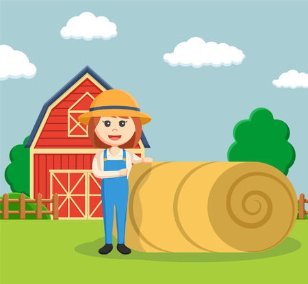 agronomist: farmer woman pointing to straw roll Illustration