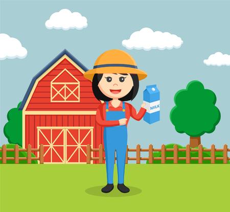 farmer woman holding milk
