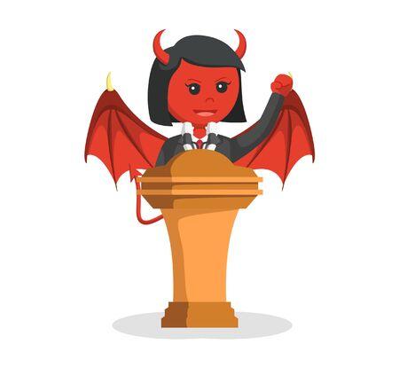 devil businesswoman giving speech