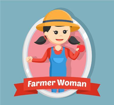 farmer woman in emblem