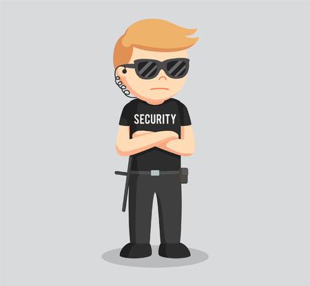 posa di guardia di sicurezza in piedi