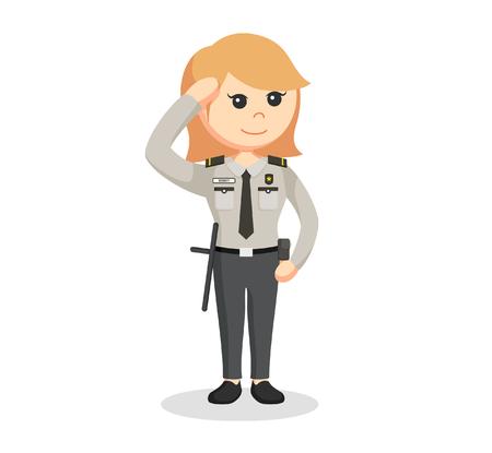 femme policier: agent de sécurité femme donnant le salut