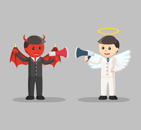 discord: devil and angel businessman arguing with megaphone
