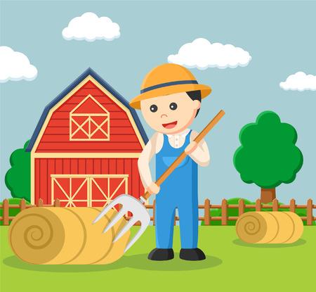 Agriculteur faisant rouleau de paille