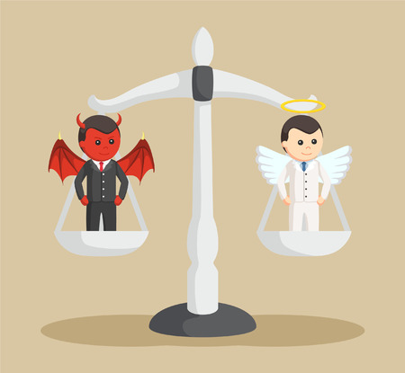 devil and angel businessman on balancing scale Illustration