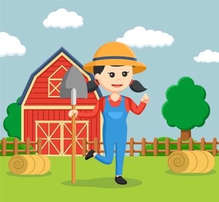 farmer woman holding shovel