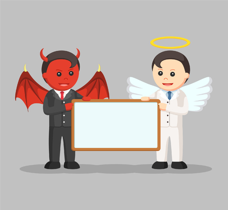 a righteous person: devil and angel businessman holding board