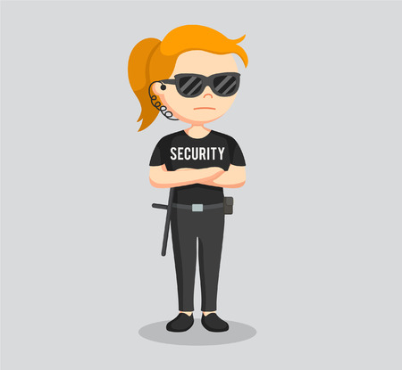 security guard woman standing pose