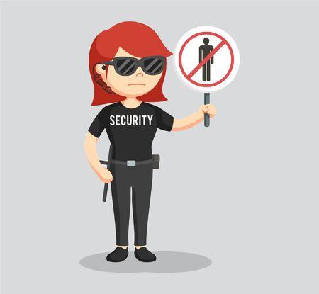 Donna di guardia di sicurezza con segno di passaggio proibito