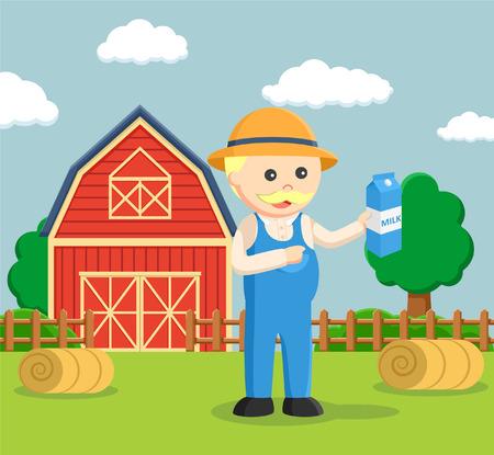 milk mustache: fat farmer holding holding milk