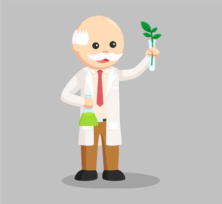 Hombre científico experimento con planta