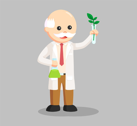 man scientist experiment with plant