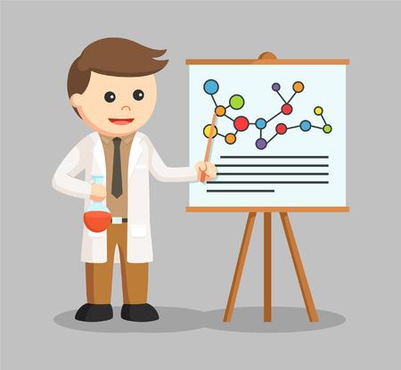 man scientist presentation his research