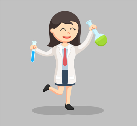 woman scientist holding two test tubes Illustration