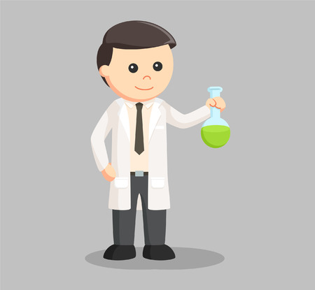 man scientist with green test tube Illustration