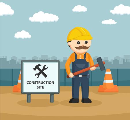 beside: construction worker holding hammer beside sign