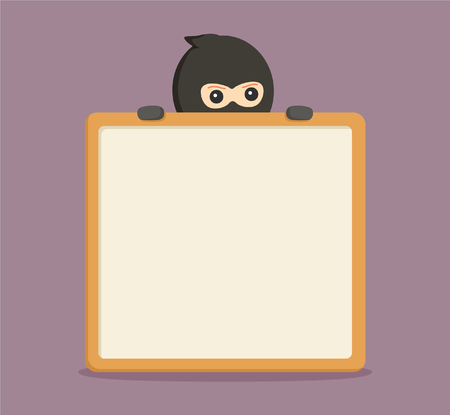 snoop: man thief peek from behind empty board