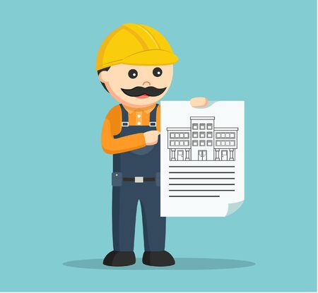 construction projects: construction worker showing blueprint