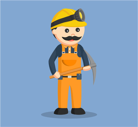 miner holding pickaxe color Illustration