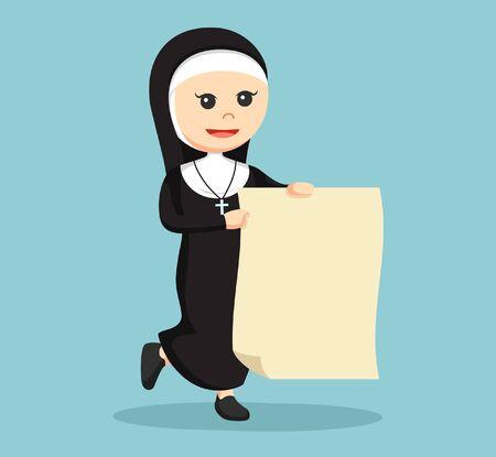 nun: nun holding big paper