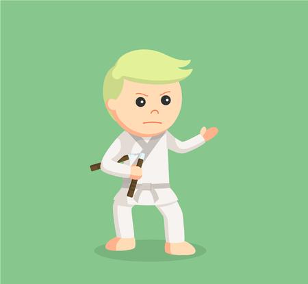 karate kid holding nunchaku